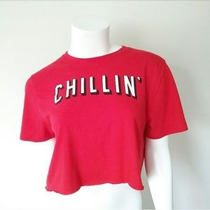 Old Navy Chillin' Netflix Graphic Red Crop Top